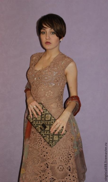 Платья ручной работы. Ярмарка Мастеров - ручная работа. Купить Платье ОЛИВИЯ. Handmade. Бежевый, стильно, вязаное платье