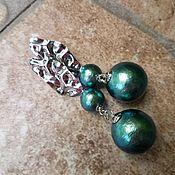 Украшения handmade. Livemaster - original item Earrings with cotton pearl - TWO GREEN, TWO.... Handmade.