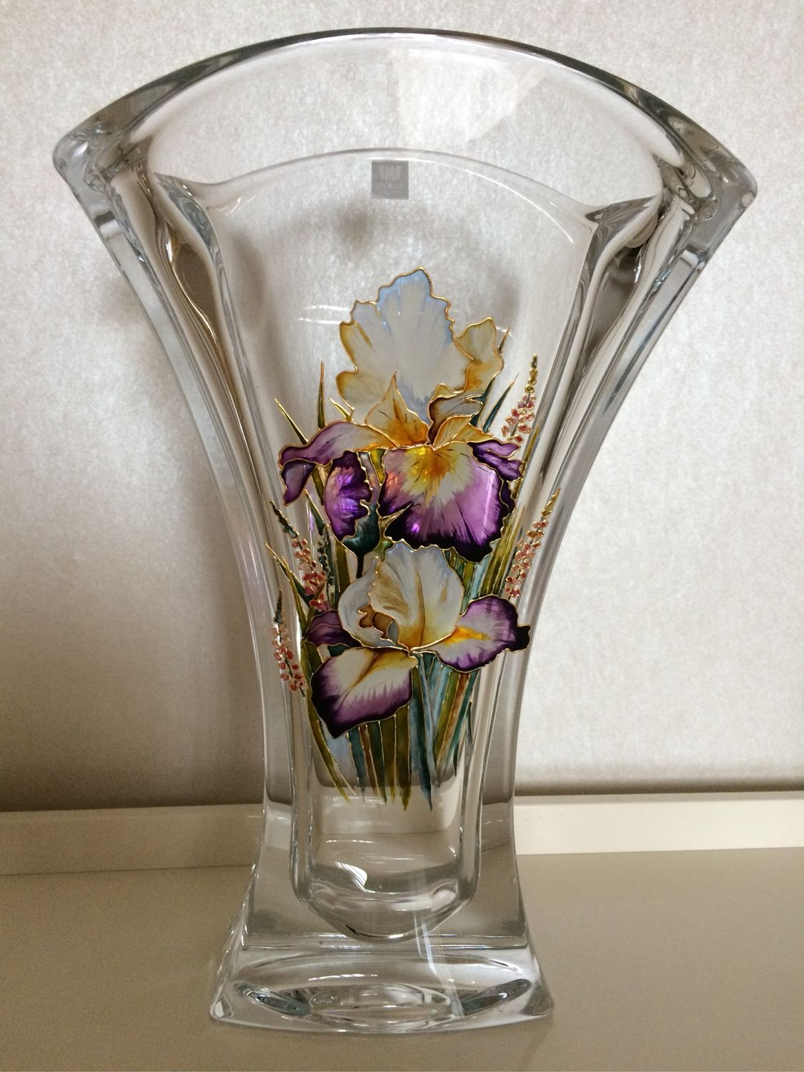 Crystal vase with painted Irises, Vases, Moscow,  Фото №1