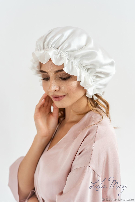 Шапки ручной работы. Ярмарка Мастеров - ручная работа. Купить Шелковая шапочка для сна белая. Handmade. Натуральный шелк, lulamay