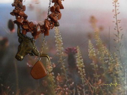Комплекты украшений ручной работы. Ярмарка Мастеров - ручная работа. Купить Колье Зорька. Handmade. Коричневый, травы, бисер чешский