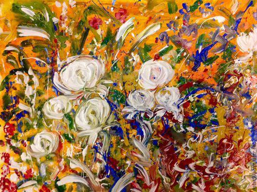 Картины цветов ручной работы. Ярмарка Мастеров - ручная работа. Купить Цветы на оранжевом.. Handmade. Оранжевый, недорогая картина