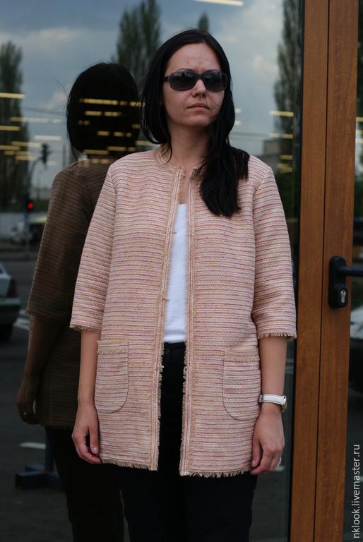 Пиджаки, жакеты ручной работы. Ярмарка Мастеров - ручная работа. Купить Летнее пальто с карманами. Handmade. Бледно-розовый, пастель