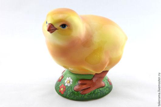 Статуэтки ручной работы. Ярмарка Мастеров - ручная работа. Купить Цыпленок. Handmade. Желтый, курица, керамическая фигурка, фаянс