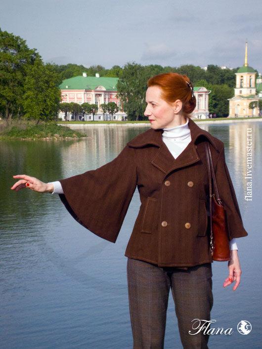 Короткое демисезонное пальто. Индивидуальный пошив, Флана