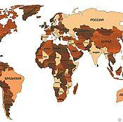 Картины ручной работы. Ярмарка Мастеров - ручная работа Карта мира из дерева Огромная карта мира. Handmade.