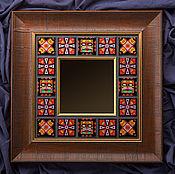 """Для дома и интерьера ручной работы. Ярмарка Мастеров - ручная работа Зеркало """"Африка"""", горячая эмаль по меди. Handmade."""
