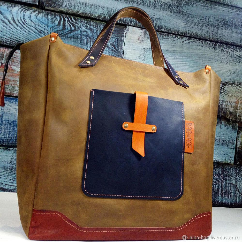 Handbags handmade. Livemaster - handmade. Buy Large leather handbag.Bag, travel bag, combo, genuine leather