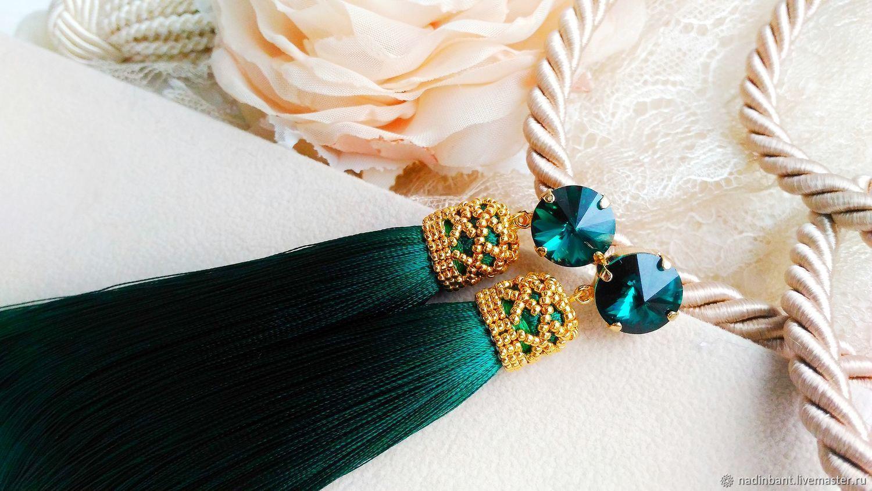 Earrings brush 'Green' - silk, gold beads 24K, Tassel earrings, St. Petersburg,  Фото №1