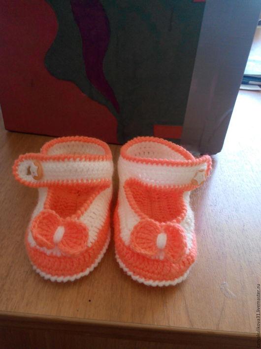 Детская обувь ручной работы. Ярмарка Мастеров - ручная работа. Купить Туфельки-пинетки. Handmade. Комбинированный, яркий подарок, красиво