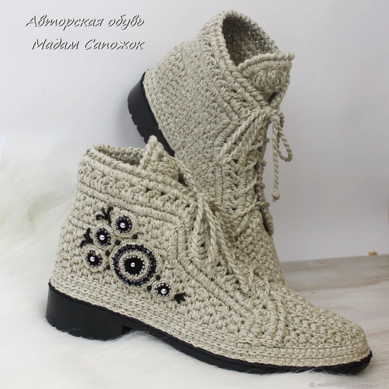6acc38767 Купить Льняные ботинки с вышивкой женские · Обувь ручной работы. Льняные  ботинки с вышивкой женские. Ксения Мадам Сапожок. Интернет- ...