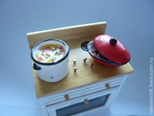 Еда ручной работы. Ярмарка Мастеров - ручная работа. Купить Миниатюрная посуда. Обед готов.. Handmade. Комбинированный, миниатюра из пластики