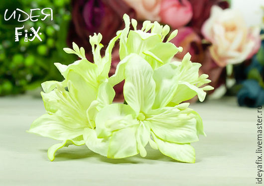 Диаметр цветка около 45 мм. Длина проволочного стебелька 7 см.  Цена указана за 1 цветок.