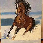 """Картины и панно ручной работы. Ярмарка Мастеров - ручная работа Картина маслом с животными """" Лошадь """". Handmade."""