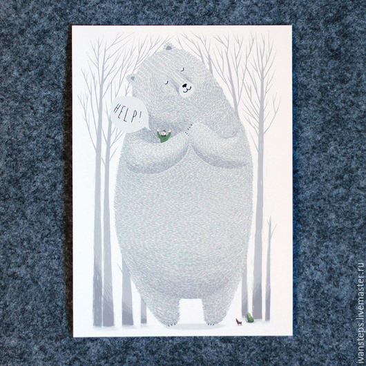 """Открытки на все случаи жизни ручной работы. Ярмарка Мастеров - ручная работа. Купить открытка """"HELP"""". Handmade. Postcrossing, help, медведь"""