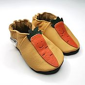 Одежда детская handmade. Livemaster - original item Yellow Baby Shoes with Carrots , Baby moccasins 100% Genuine Leather. Handmade.