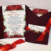 Свадебный салон ручной работы. Ярмарка Мастеров - ручная работа Пионы марсала  -приглашение на свадьбу. Handmade.