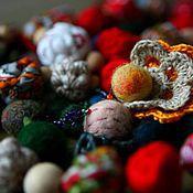 Украшения ручной работы. Ярмарка Мастеров - ручная работа Бохо-бусы из войлока и текстиля. Handmade.
