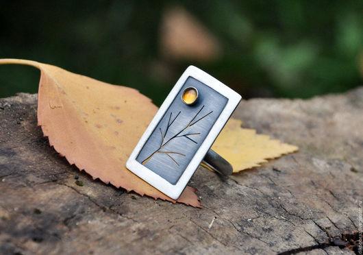 """Кольца ручной работы. Ярмарка Мастеров - ручная работа. Купить Кольцо """"Окно"""" с цитрином. Handmade. Желтый, дерево, необычное кольцо"""