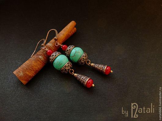 """Серьги ручной работы. Ярмарка Мастеров - ручная работа. Купить Серьги """"Egyptian Bazaar"""" - турквенит, кораллы. Handmade. Египет"""