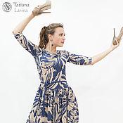 Одежда ручной работы. Ярмарка Мастеров - ручная работа Распродажа! Трикотажное платье сине-бежевого цвета. Handmade.