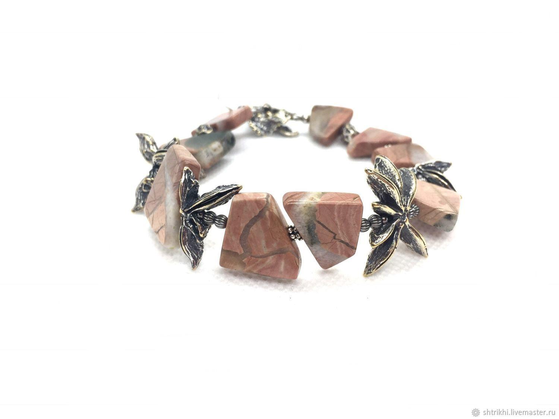 Bracelet made of natural stones Powder. Jasper, accessories Anna Black, Bead bracelet, Moscow,  Фото №1