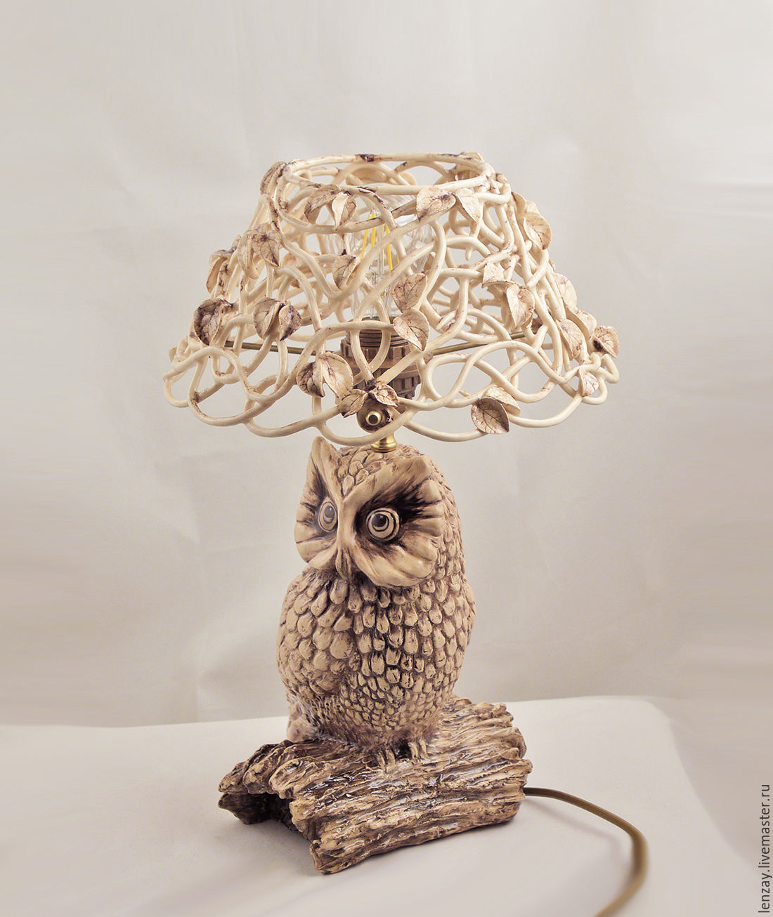 Table lamp owl shop online on livemaster with shipping 7856dcom ceramic table lamp owl the lampshade is made in authors technique mozeypictures Choice Image