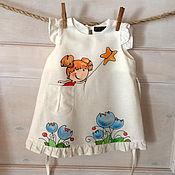 Белое льняное детское платье .Ручная роспись.