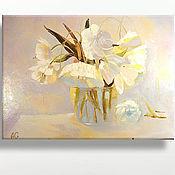 Картины и панно ручной работы. Ярмарка Мастеров - ручная работа Картина Белые тюльпаны. Масло, холст на подрамнике, мастихин. Handmade.