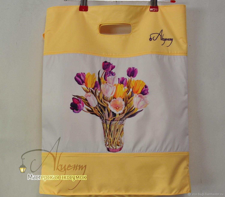 """Двойная сумка -пакет """"Тюльпаны"""""""