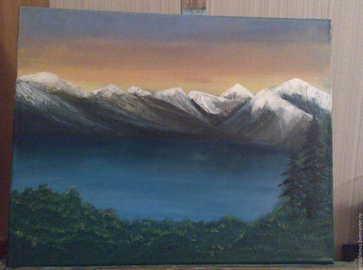 Пейзаж ручной работы. Ярмарка Мастеров - ручная работа. Купить Озеро в горах. Handmade. Зеленый, горный пейзаж, горы, ели