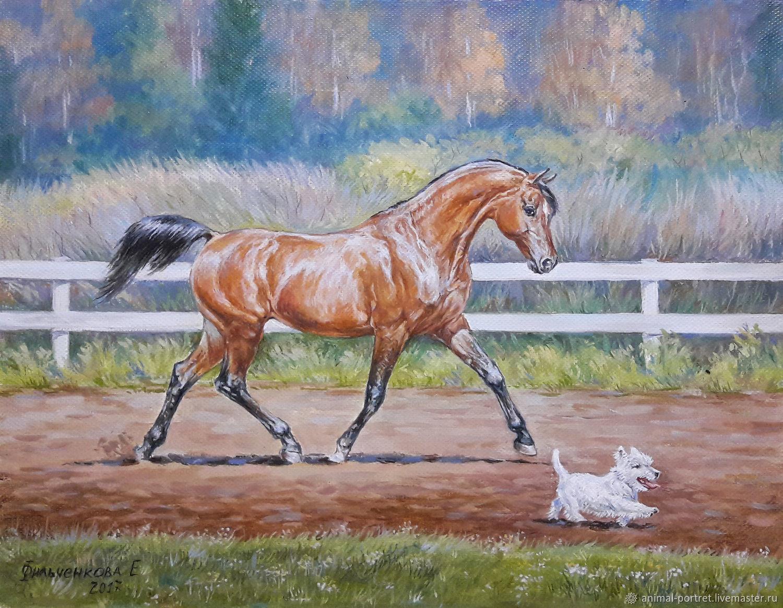 Животные ручной работы. Ярмарка Мастеров - ручная работа. Купить Верные друзья. Handmade. Лошадь, животные, портрет, картина маслом