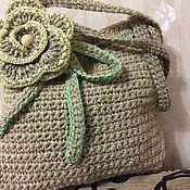 Классическая сумка ручной работы. Ярмарка Мастеров - ручная работа Джуто-пеньковая сумка с цветком. Handmade.