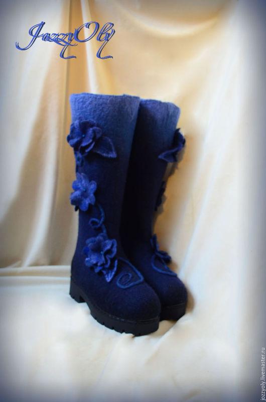 """Обувь ручной работы. Ярмарка Мастеров - ручная работа. Купить Валенки """"Индиго"""". Handmade. Тёмно-синий, дизайнерские валенки"""
