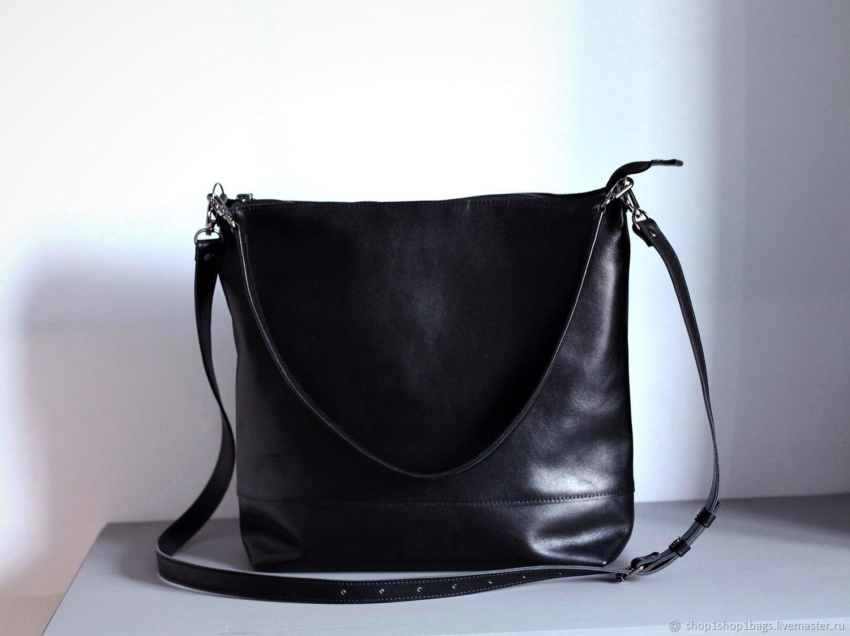 Кожаная сумка.Большая кожаная сумка А4.Черная сумка кожаная, Сумка-мешок, Москва,  Фото №1