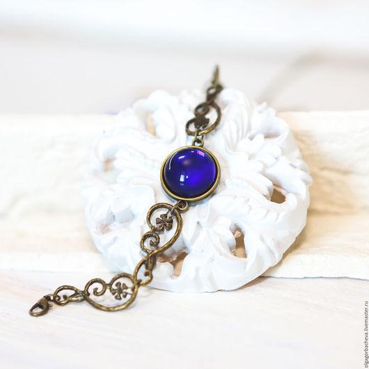 """Браслеты ручной работы. Ярмарка Мастеров - ручная работа. Купить Винтажный браслет """"Ночь для меня"""" темно-синий. Handmade."""