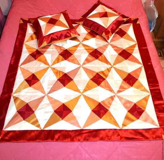 """Текстиль, ковры ручной работы. Ярмарка Мастеров - ручная работа. Купить Лоскутное покрывало и 2 наволочки """"Звезда Востока""""(пэчворк). Handmade."""