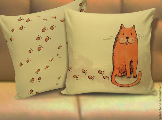 """Текстиль, ковры ручной работы. Ярмарка Мастеров - ручная работа. Купить Подушка """"Кот Тимофей"""". Handmade. Бежевый, рыжий, кот"""