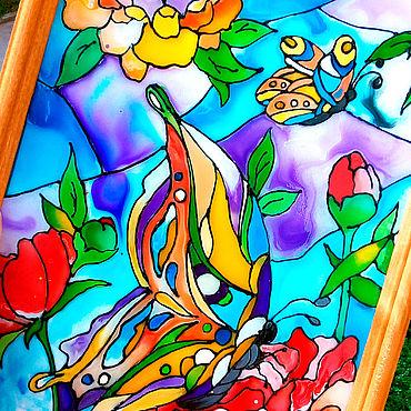 Картины и панно ручной работы. Ярмарка Мастеров - ручная работа Витражная картина с бабочками и цветами. Handmade.