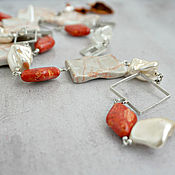 Украшения handmade. Livemaster - original item Set of jewelry from Jasper, coral, Mallorca