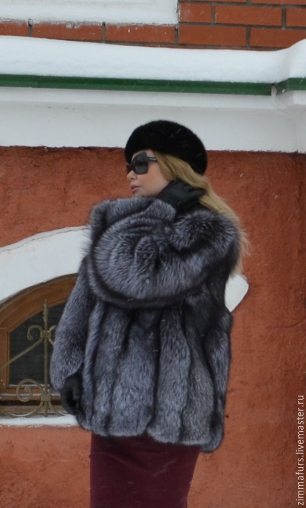 coat. Jacket with fur black-brown (silver) foxes, Fur Coats, Omsk,  Фото №1