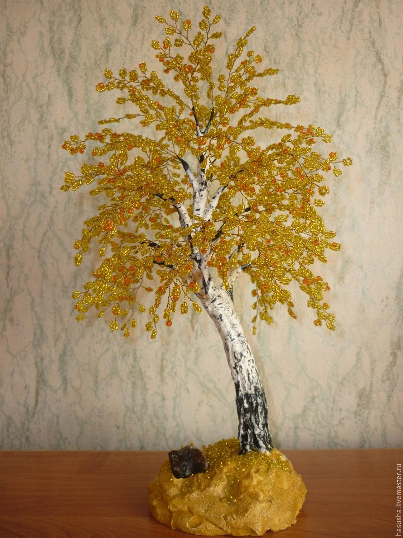 Осеннее дерево из бисера. мастер класс с пошаговым для начинающих
