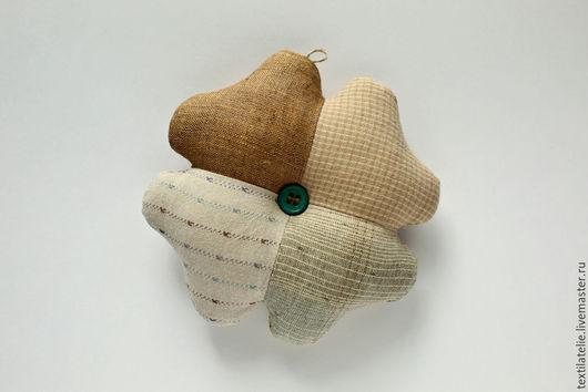 Персональные подарки ручной работы. Ярмарка Мастеров - ручная работа. Купить Клевер-четырехлистник - символ удачи. Амулет-оберег из хлопка и льна. Handmade.