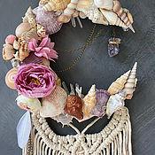 Для дома и интерьера handmade. Livemaster - original item Half moon made of shells with macrame, crystals and stones. Handmade.