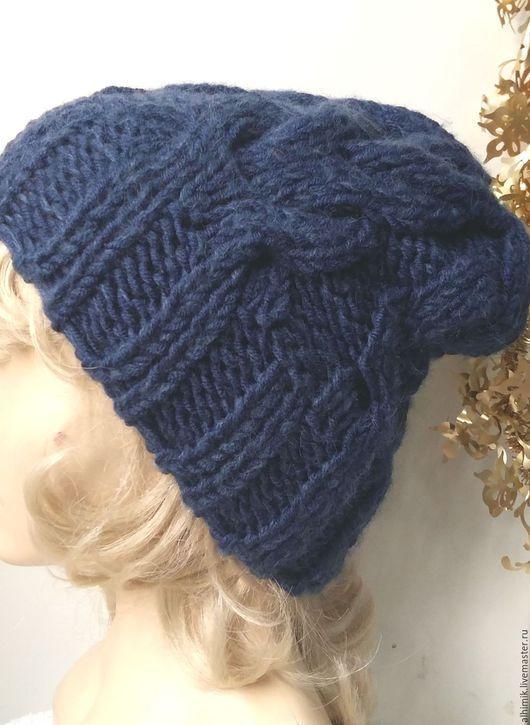 Шапки ручной работы. Ярмарка Мастеров - ручная работа. Купить шапка вязаная из толстой пряжи. Handmade. Тёмно-синий