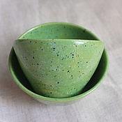 Посуда ручной работы. Ярмарка Мастеров - ручная работа Зеленые в крапинку. Handmade.