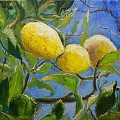 Картины и панно handmade. Livemaster - original item The author`s painting with lemons on a tree branch a little oil painting. Handmade.