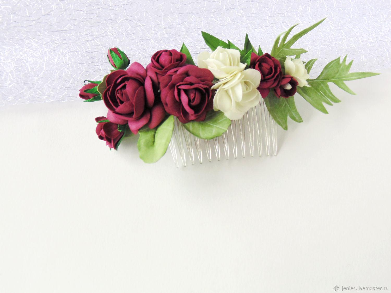 Цветок в прическу марсала
