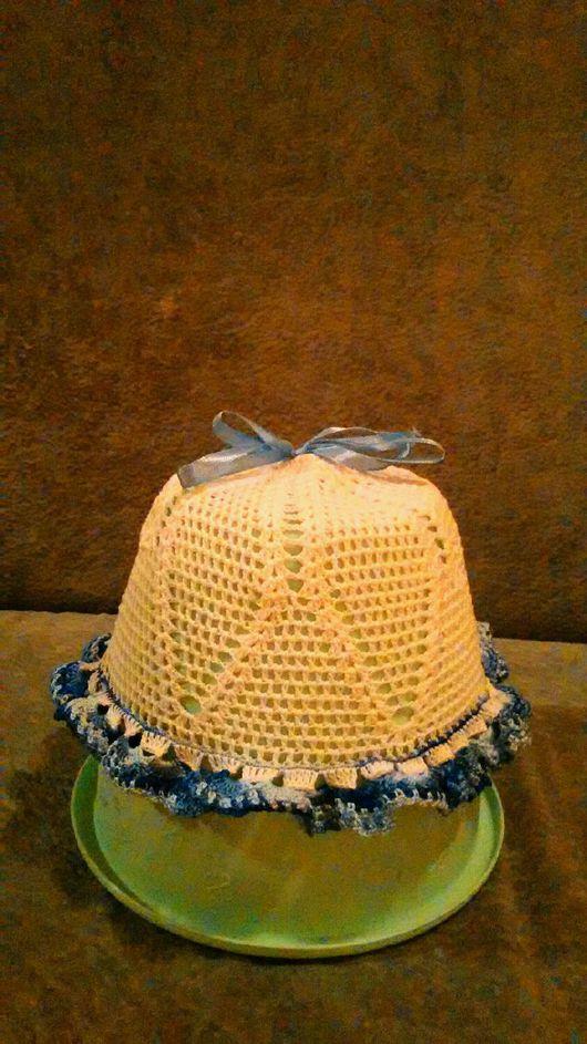 Панамы ручной работы. Ярмарка Мастеров - ручная работа. Купить Детская панамка на 3- 6 месяцев,выполненная крючком.. Handmade.