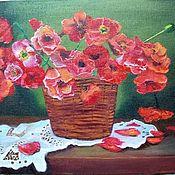 Картины и панно handmade. Livemaster - original item Paintings: red poppies in a vase. Handmade.